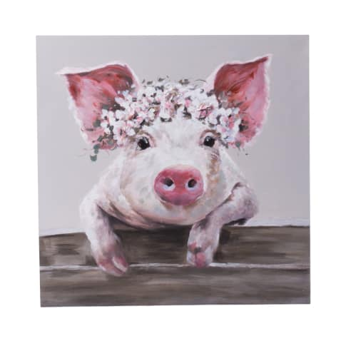 Bild Sweet Pig, Handgemalt, ca. 80x80cm Vorderansicht