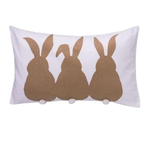 Kissenhülle Country Hase, mit weißen Puscheln, 100% Baumwolle, ca. L50 x B30 cm Vorderansicht