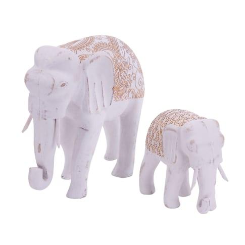 Deko-Figuren-Set, 2-tlg. Elefanten, mit goldfarbenem Orient-Print, MDF, groß ca. H19 cm , klein ca. H11,5 cm Vorderansicht