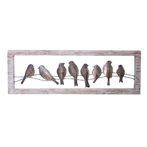 Wandobjekt Vögel, handgearbeitet, ca. B120 x H40 cm Vorderansicht