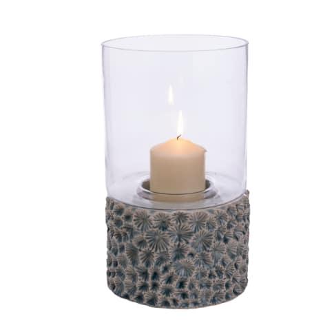 Deko-Windlicht Stina, Glas, Keramik, ca. 35 cm hoch Vorderansicht