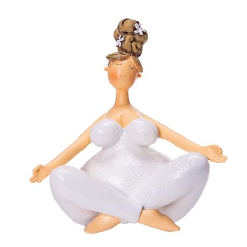 Deko-Figur Yoga-Lady Nala, Schneidersitz, Polyresin, ca. L11,5 x B7,5 x H12 cm Vorderansicht
