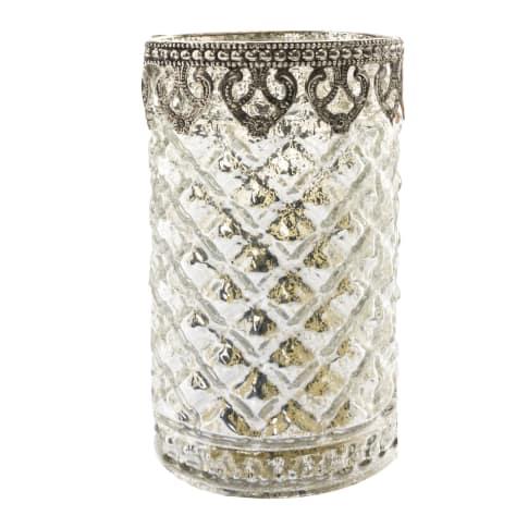 Teelichthalter Silber A, Glas, Duchmesser ca. 10cm, H ca. 16 cm Vorderansicht