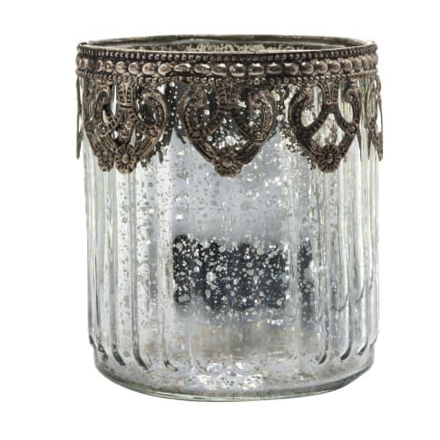 Teelichthalter Silber C, Glas, Durchmesser ca. 8 x H ca. 9 cm Vorderansicht