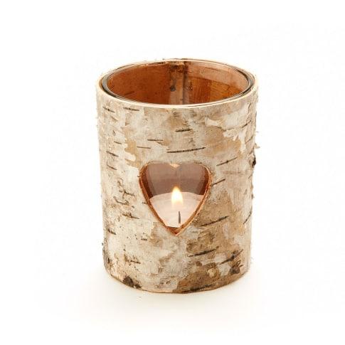 Teelichthalter Herz, Birkenrinde/ Glas, ca. H8 cm Vorderansicht