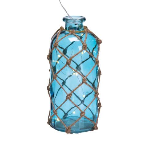 Deko-Flasche mit LED- Lichterkette Net, Maritimer Look, Glas, Jute, LED Vorderansicht