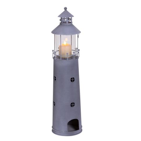 Windlicht Leuchtturm, Maritimer Look, ca. H80 cm Vorderansicht