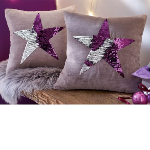 Samt-Kissenhülle Pailletten-Stickerei Star, aufwendige Stickerei mit Wende-Pailetten, 100% Baumwoll-Samt, ca. L40 x B40 cm Katalogbild