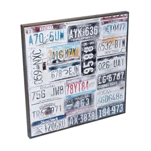 Bild Nummernschilder, handgefertigt, ca. B80x H80cm Vorderansicht