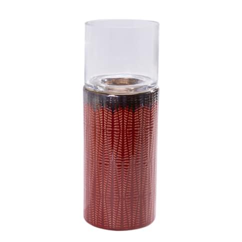 Windlicht Savanna, Keramik, Glas, rot: ca. H29 cm, gelb: ca. H24 cm, weiß: ca. H19 cm Vorderansicht
