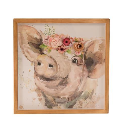 Bild Schweinchen Mathilde, mit Blütenapplikation, Kunstdruck auf Pergament hinter Glas, ca. 43 x 43 cm Vorderansicht