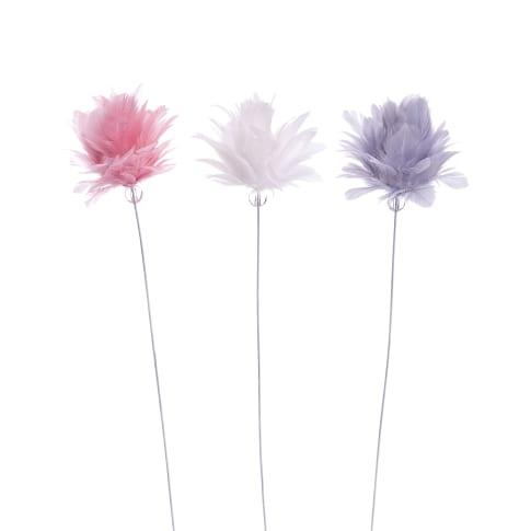 Deko-Blumen-Set, 3-tlg. Federtraum, Federn, Metall, jeweils H34 cm Vorderansicht