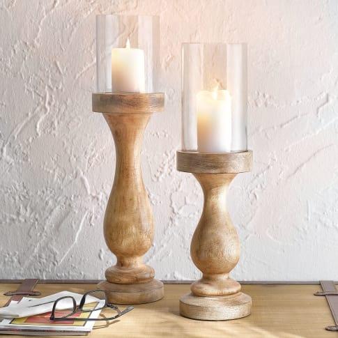 Kerzenständer Uma, rustikal, Mangoholz, Glas, klein ca. 13 x 46 cm, groß ca. 13 x 56 cm Katalogbild