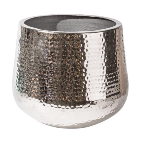 Übertopf Sienna, gehämmert, Aluminium, ca. D39 cm Vorderansicht