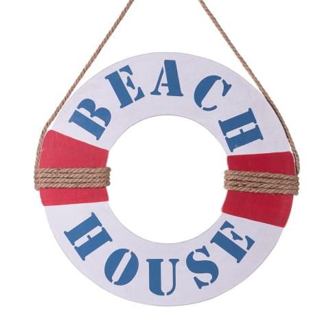 Deko-Objekt Rettungsring, mit Aufdruck Beach House, MDF, ca. L37 x B37 x T1 cm Vorderansicht