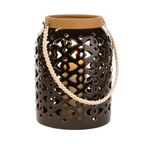 Windlicht Laterne, Keramik, schwarz: ca. H26 cm, weiß: ca. H22 cm Vorderansicht
