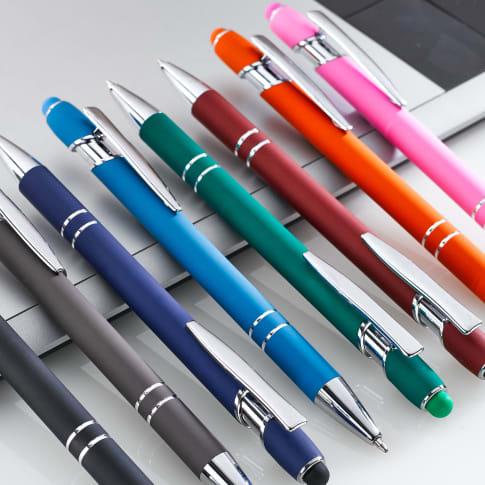 Metallkugelschreiber Soft Palma, mit Softtouch-Oberfläche, blaue Kunststoff-Standardmine, Metall, Kunststoff Katalogbild