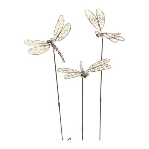 Gartenstecker-Set, 3-tlg. Libellen Vorderansicht