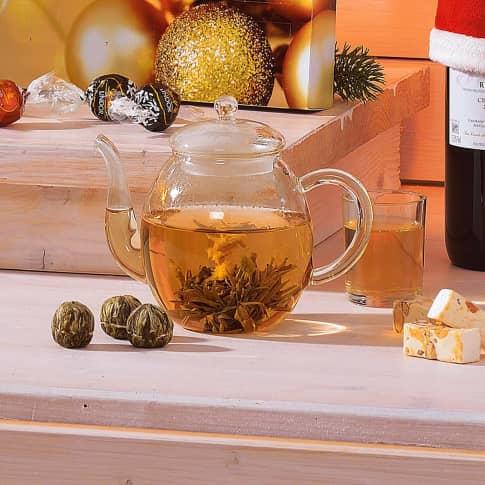 Geschenk-Set, Erblüh-Tee Weißer Tee, inkl. Glastee-Kanne & 6 Teekugeln Katalogbild