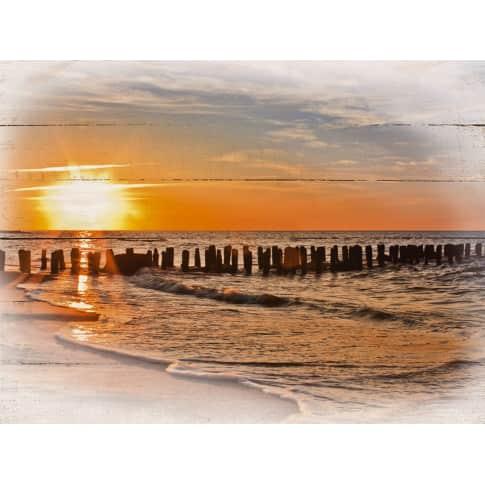 Holzbild Sonnenuntergang Vorderansicht