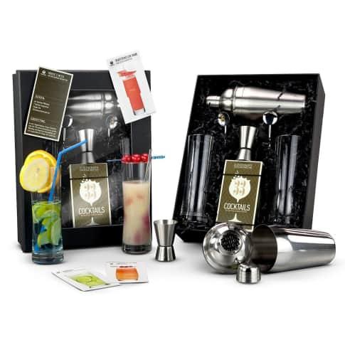 """Geschenk-Set """"Exklusive Cocktail-Box"""", Rezepte, Shaker, Barmaß, Gläser, Löffel Vorderansicht"""