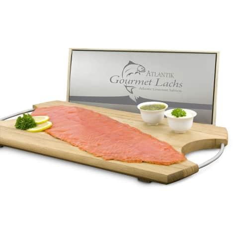 Lachspräsent 'Gourmet', 300g Lachs, 50g Meerrettich, 50g Senf-Dill-Sauce Vorderansicht