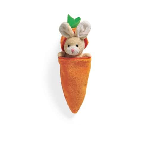Plüschtier-Set, 2-tlg. Hase mit Karotte, 100 % Polyester, Karotte 14 cm, Hase 8 cm Vorderansicht