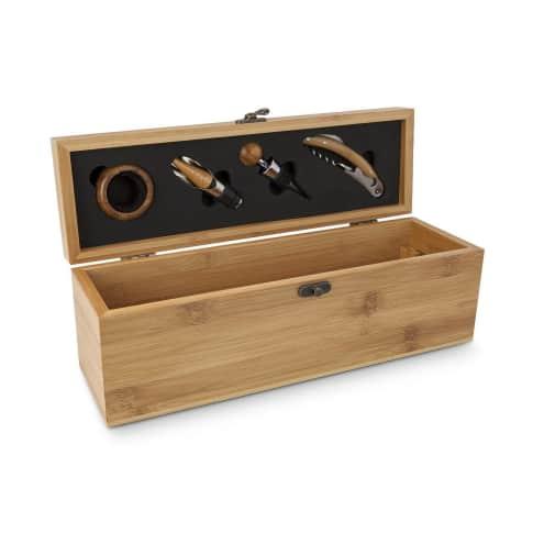 Weinaccessoire-Kiste Bambus, Holzgriffe, Edelstahl Vorderansicht