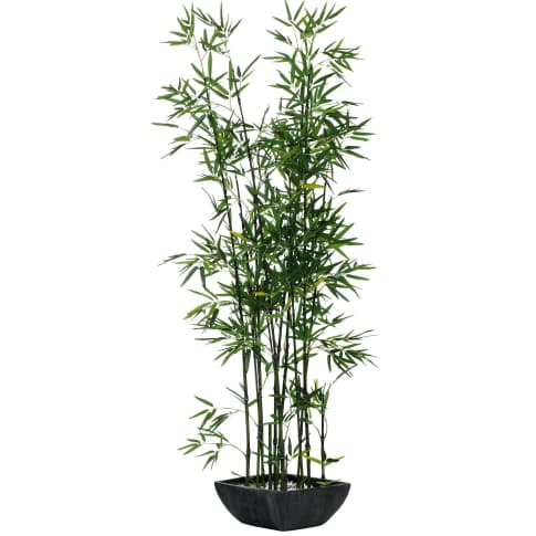 Kunstpflanze Bambus, Polyestergewebe/ Terrakotta, ca. H150 cm Vorderansicht