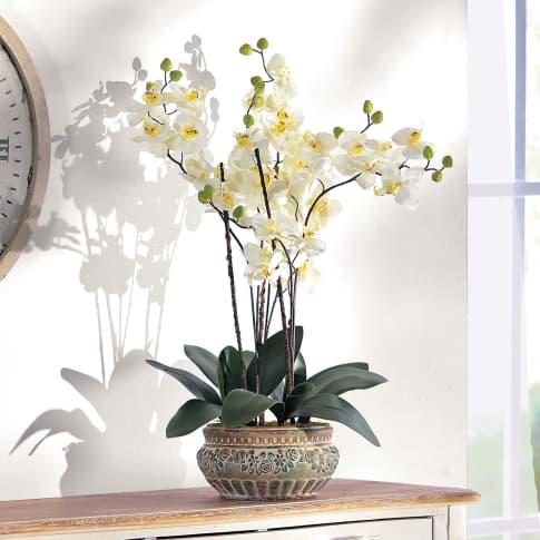 Kunstpflanze Orchideentopf Antik, mit Übertopf, Kunststoff/ Keramik, ca. H58 cm Katalogbild