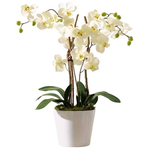 Kunstpflanze Orchideentopf Elegance, Kunststoff/ Naturholz/ Keramik, ca. H54 cm Vorderansicht