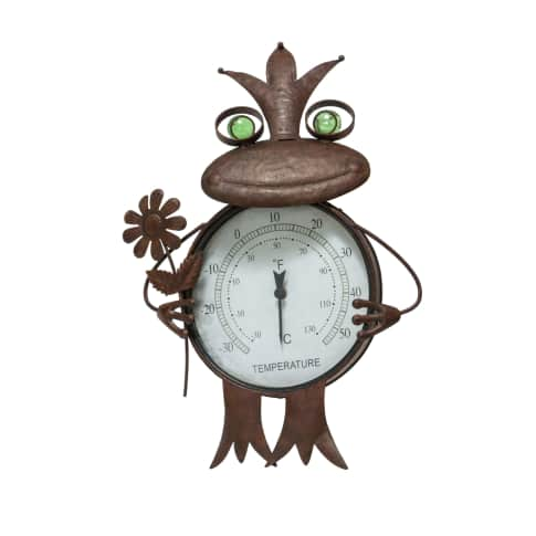 Thermometer Frosch, Metall, ca. H 114 cm Vorderansicht