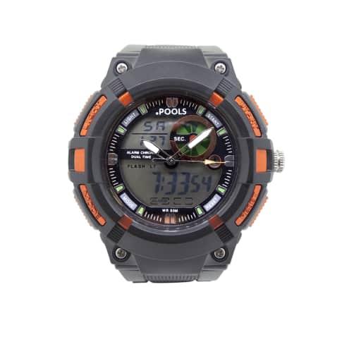 Armbanduhr, Stopp- und Alarmfunktion, Analog und Digitalanzeige Vorderansicht