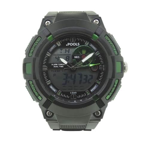 Armbanduhr, Stopp- und Alarmfunktion, Analog- und Digitalanzeige Vorderansicht