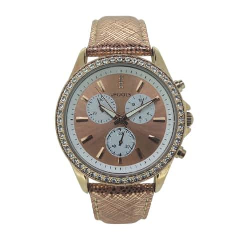 Armbanduhr, Dornschließe, Chrono Look., mit Kristallen. Vorderansicht