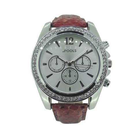 Armbanduhr, Schlangenoptik, Dornschließe, mit Kristallen Vorderansicht