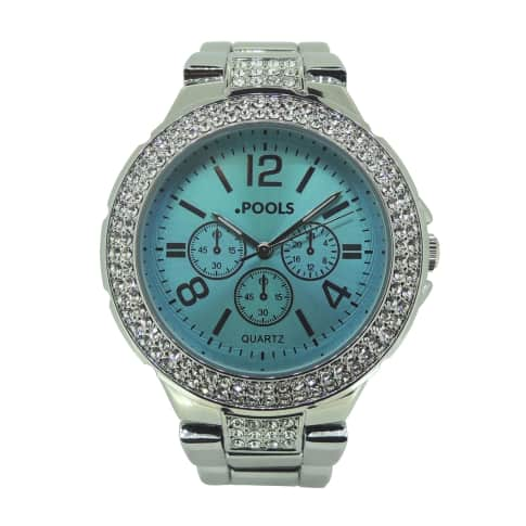 Armbanduhr, Clipverschluss, Chrono Look, mit Kristallen Vorderansicht