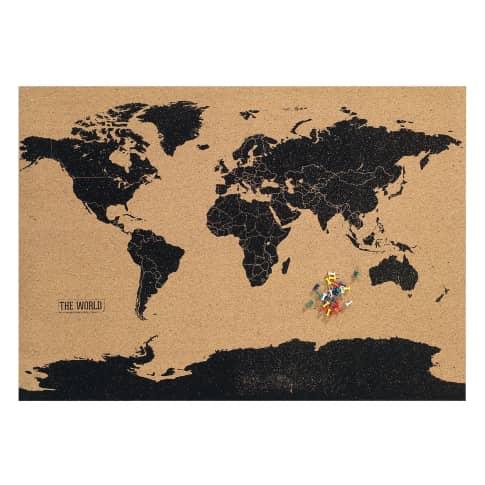 Weltkarte Kork, Ziele und bereiste Länder markieren, als Pinnwand nutzbar Vorderansicht