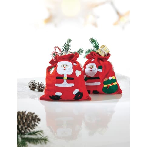 Weihnachtsbeutel aus Filz, 2-tlg. Happy Santa, mit Zugband, 100 % Polyester, je ca. 23 x 26 cm Katalogbild