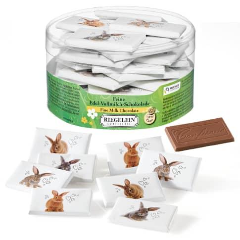 Schokoladentäfelchen, 40-tlg. Hase Vorderansicht