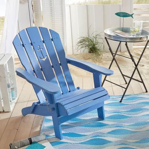 Outdoor-Stuhl Anker, Adirondack Chair klappbar, Maritimer Look, Holz Vorderansicht