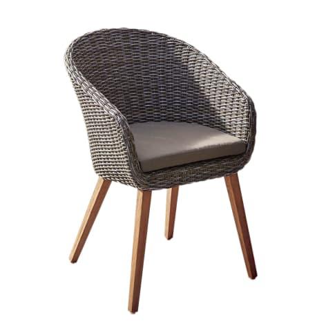 Outdoor-Stuhl Mira, Rattanstuhl mit Auflage, Polyrattan Vorderansicht