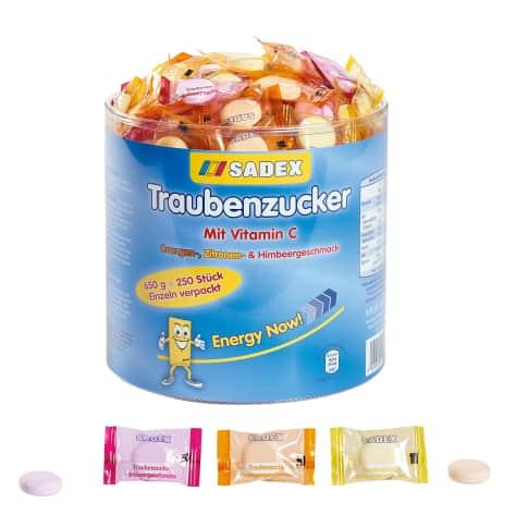 Traubenzucker-Runddose, 650 g, mit Vitamin C, einzeln verpackt Vorderansicht