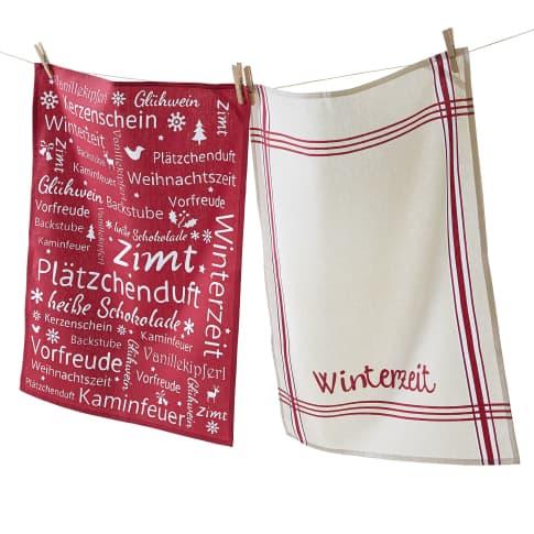 Geschirrtuch-Set, 2-tlg. Winterzeit, 100% Baumwolle, jeweils ca. L70 x B50 cm Vorderansicht