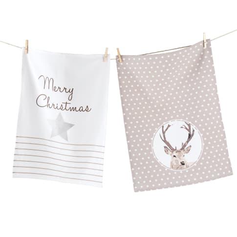 Geschirrtuch-Set Merry Christmas, 100% Baumwolle, jeweils ca. L70 x B50 cm Vorderansicht
