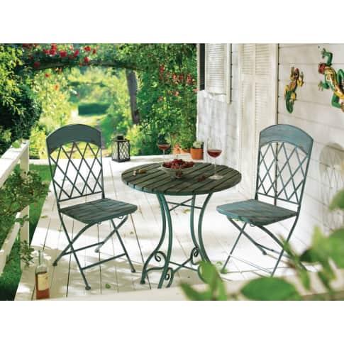 Outdoor-Tisch Vintage, Rund, Vintage-Look, Metall, Holz, ca. Ø 65 cm Katalogbild