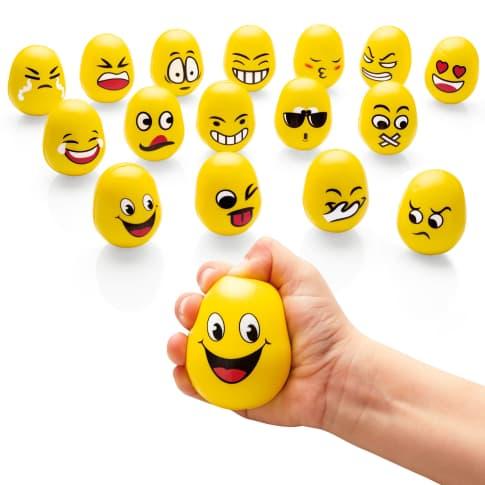 Stressbälle-Set, 16-tlg. Emojis Eggs, EVA Vorderansicht
