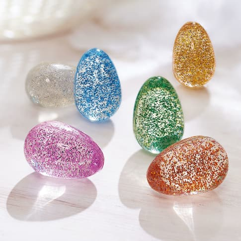 Flummi-Eier, 18-tlg. Glitter, Gummi, ca. 3,8 x 2,5 cm Katalogbild