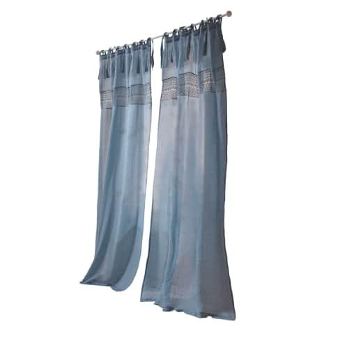 Leinen-Vorhang Valerie, mit Spitzen-Bordüre, 55% Leinen, 45% Baumwolle, ca. 250 x 140 cm Vorderansicht