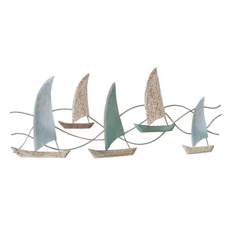Wand-Objekt Segelboote, Mangoholz, ca. B120 cm Vorderansicht